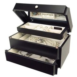 Ladies Java Wood Jewelry Box with Mirrored Lid