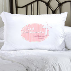 Personalized Pink Light of God First Communion Pillow Case