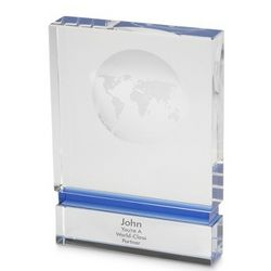 Blue Stripe Globe Block Award