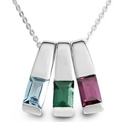 Sterling Silver 3 Birthstone Slider Necklace