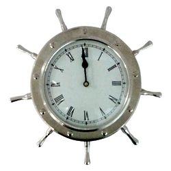 Nickel Ship's Wheel Wall Clock