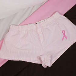 Embroidered Pink Ribbon Ladies Cotton Shorts