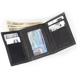 Soft Leather Trifold Back Pocket Wallet