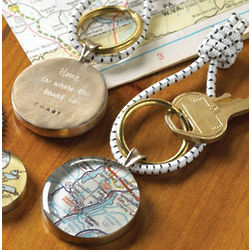 Personalized Map Key Ring with Engraving
