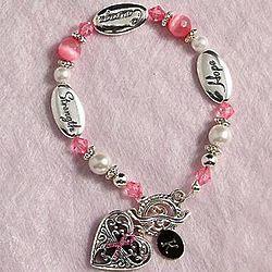 Personalized Pink Ribbon Antique Heart Bracelet