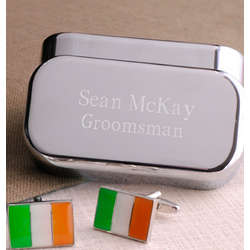 Irish Flag Cuff Links with Personalized Case