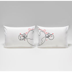 Love Has No Distance His & Hers Matching Couple Pillowcases
