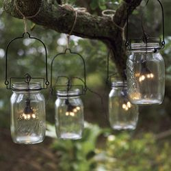 Mason Jar Lanterns with Solar String Lights