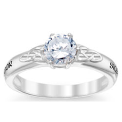 Celtic Silver and Cubic Zirconia Couple's Name Wedding Ring