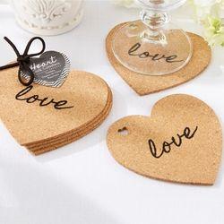 Heart-Shaped Cork Coasters Wedding Favor
