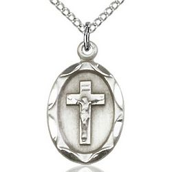 Sterling Silver Crucifix Oval Pendant