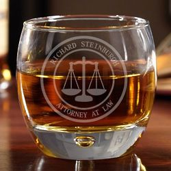Scales of Justice Personalized Whiskey Glass