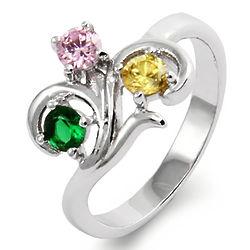 Close to the Heart 3 Stone Swirl Birthstone Ring
