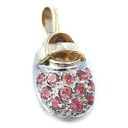 14kt Gold Birthstone Baby Shoe Pendant