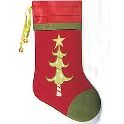 Red Personalized Quilted Whimsical Christmas Stocking