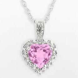 10k White Gold Lab-Created Pink Sapphire Heart Pendant