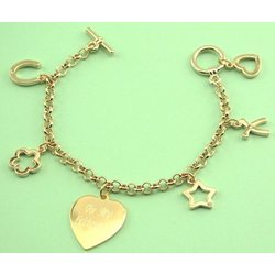 Personalized Gold Plated 5 Charm & Heart Bracelet