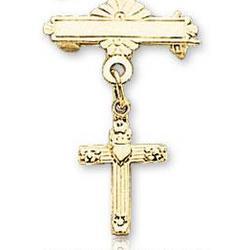 14k Yellow Gold Loving Heart Holy Cross Baptismal Pin