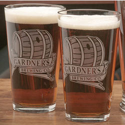 Personalized Beer Barrel Design Two Pint Glass Set