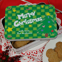 Personalized Merry Christmas Cookie Tin
