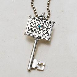 Your Special Day Birthstone Key Calendar Pendant