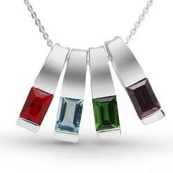 Sterling Silver 4 Birthstone Slider Necklace
