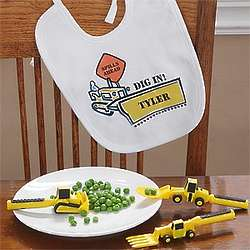 Personalized Construction Worker Bib and Utensil Set