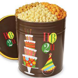 3-1/2 Gallon 3-Flavor Birthday Popcorn Tin