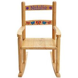 Personalized Wooden Rocking Chair with Butterfly Design