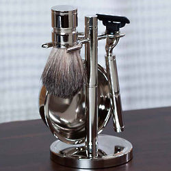 Engraved Chrome Shaving Set