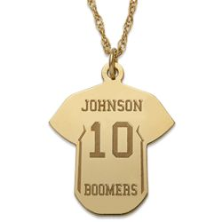 Personalized Gold Over Sterling Baseball Jersey Necklace
