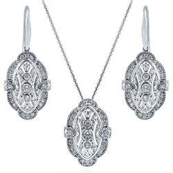 Silver CZ Art Deco Milgrain Necklace and Earrings