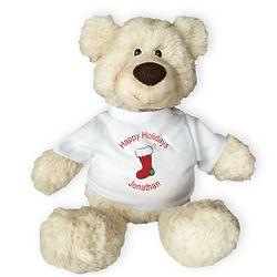 Personalized Happy Holidays Pinchy Teddy Bear