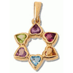 14K Gold Star of David Pendant with Colored Stones