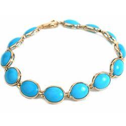 14k Gold Oval Link Turquoise Bracelet