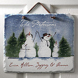 Personalized Snow Family Welcome Slate Plaque