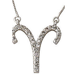 Diamond Aries Zodiac Pendant in 14K White Gold