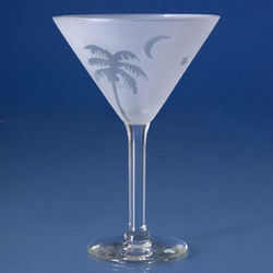 Frosted Palm Martini Glasses