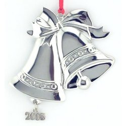 Personalized Silver Bells Ornament with Year Charm