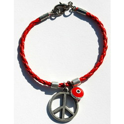 Red Braided Leather Peace Sign Bracelet
