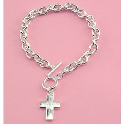 Personalized Silver Plated Cross Charm Bracelet