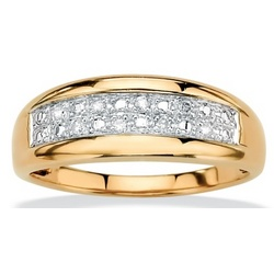 18k Gold over Sterling Silver Men's Diamond Pave Ring