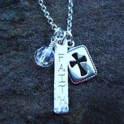 Faith Charm Necklace in Sterling Silver