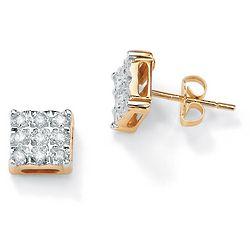 10k Gold Diamond Square Earrings