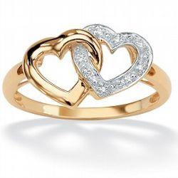 Diamond Accent Interlocking Heart Ring