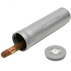 Engraved Gunmetal Travel Cylinder Cigar Humidor