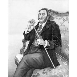 Salvador Dali Pencil Sketch Print