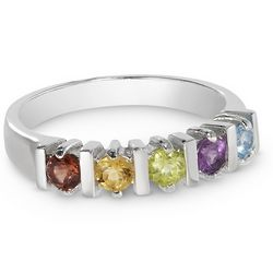 Engravable 5 Birthstone Ring in Sterling Silver