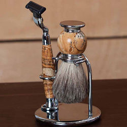 Engraved Chrome and Tan Stone Shave Set