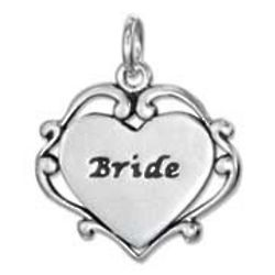 Sterling Silver Bride Heart Charm with Scroll Edging